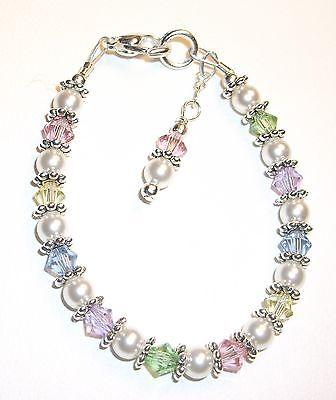 Newborn/Baby Bracelet: Pastel Mix Crystal, Pearl & Silver made w/ (Crystal Silver Baby Bracelets)