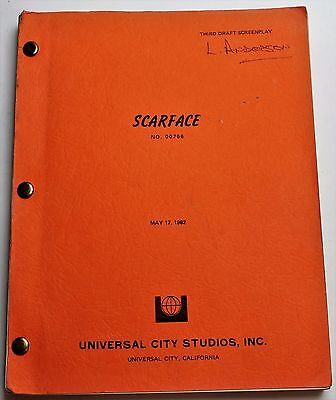 SCARFACE * 1982 Original Movie Script Screenplay * Al Pacino, Classic Film