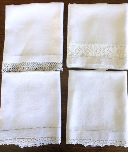 Antique Huck Linen Bath Towel Lot of 4 Damask Crochet & Tatted Edging Vintage
