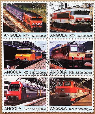 Philatelic STAMPS Thematic -TRAINS ANGOLA 6 x stamps