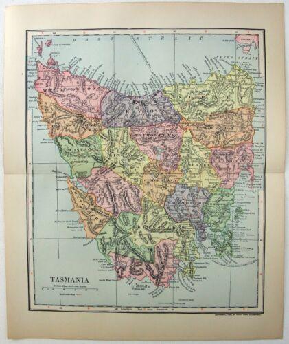 Original 1908 Map of Tasmania by Dodd Mead & Company. Australia