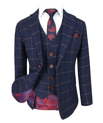 Kids Exclusive Dark Blue Gold Slim Fit Check Suit Page Boys Prom Communion - Communion Suits Boys