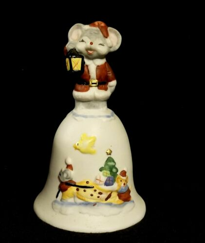 Vintage Christmas Bell  With Little Santa Mouse - Taiwan