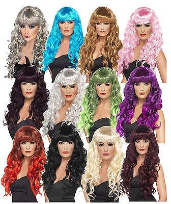 Ladies Girls Teens Siren Wigs 80s Glamour Fancy Dress Outfit Wig Wonder Woman