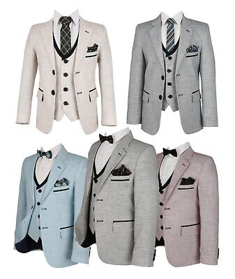 Page Boys Wedding Flamingo Tailored Fit Linen Brown Blue Red Ivory Grey Suits - Boys Tailored Suits