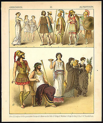 Antique Print-ANCIENT GREECE-KING-WARRIOR-MILITARY-P 12-Kretschmer-Rohrbach-1882