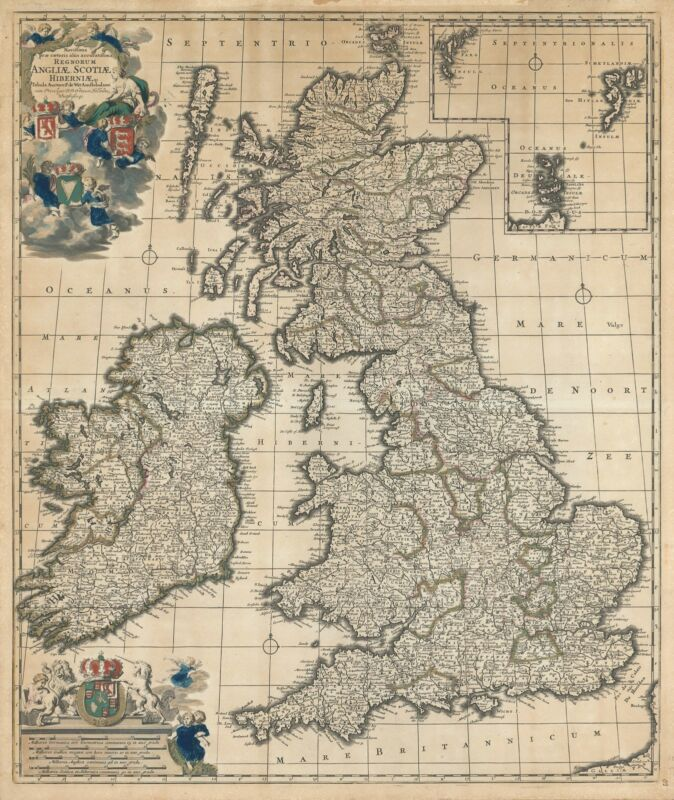 1690 De Wit Map of the British Isles:  England, Scotland, Ireland