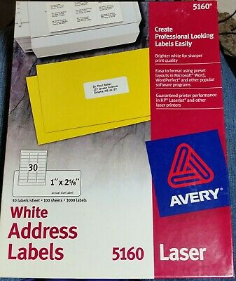 Avery White Address Labels 5160 Laser 1 X 2 58 2970 Labels