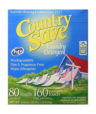 - Country Save HE Laundry Detergent, Powder, 160-Load, 10-lb Boxes (Pack of 4)