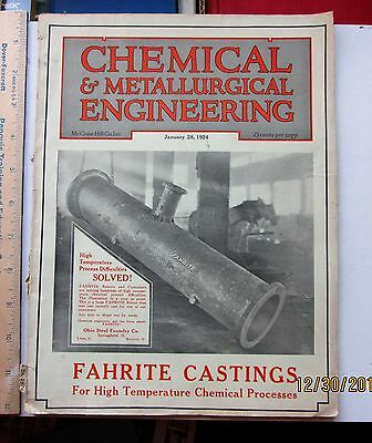 Chemical and Metallurgical Engineering Magazine jan 28 1924