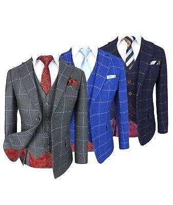 Pane Designer Check Suits Kids Pageboy Wedding Prom Suit (Kids Slim Fit Anzüge)