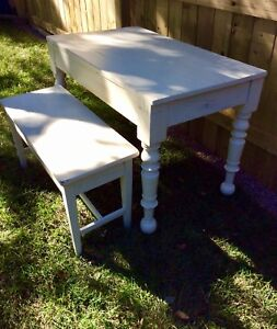 Small antique farmhouse table with bench seat