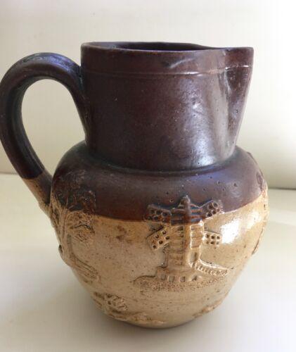 Antique 1800s English brown salt glazed stoneware pitcher jug 19th century