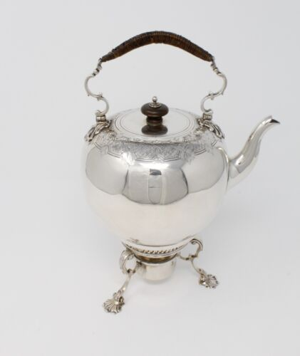 Sterling Silver English Teapot/Kettle & Stand, 1750 by Fred Kandler