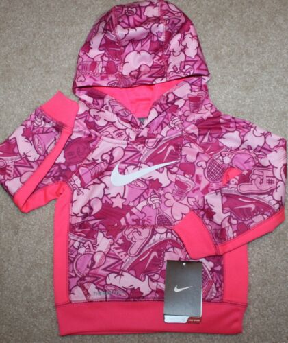 New! Girls Nike Pullover Hoodie (Sweatshirt; Swoosh; Pink/White) - Size 2T
