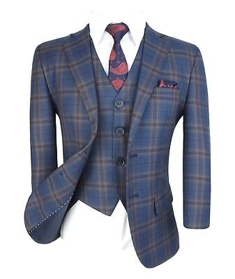 Navy Blue Communion Suits ( Kids English Navy Blue Gold Formal Check Suits Page Boys Wedding Prom)