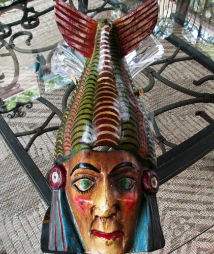 Mexican Folk Art Mayan Aztec Fish Serpent Mask Hand Crafted Painted Wood Mexico