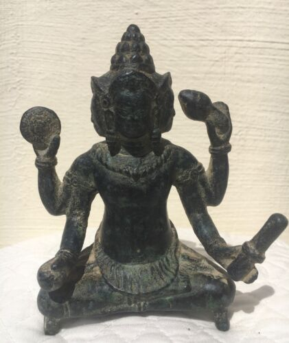 antique southeast asian Khmer Bayon bronze Brahma 12-13 century
