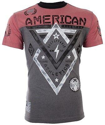 AMERICAN FIGHTER Mens T-Shirt ALASKA Athletic BLACK RED Biker Gym MMA UFC $40