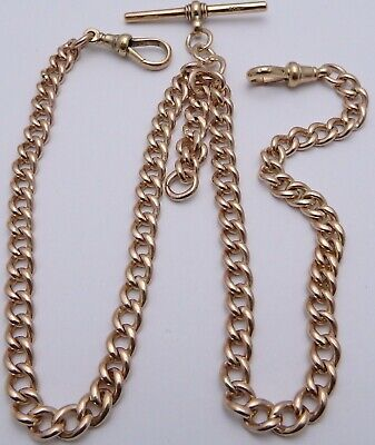 Antique 17.25 inch solid 9ct rose gold double albert watch guard chain 40.1 gram