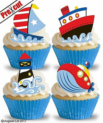 PRE-CUT NAUTICAL MIX III. EDIBLE WAFER PAPER CUP CAKE TOPPERS PARTY DECORATIONS - Nautical Cake Decorations