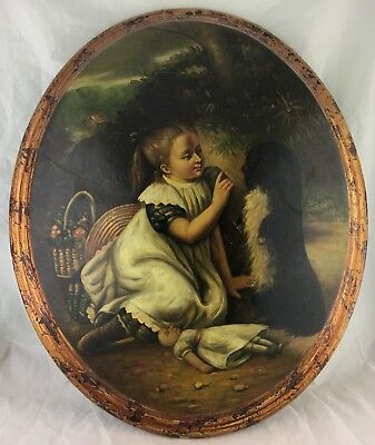 ANTIQUE REPRO GOLDEN AGE ERA STYLE OVAL WALL HANGING GIRL W/ FLOWER BASKET DOG