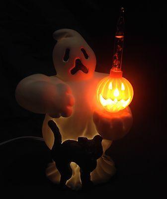 Ghost,Bubble Light,Pumpkin,Jack-O'-Lantern,Black Cat,Halloween,Vintage,Lighted