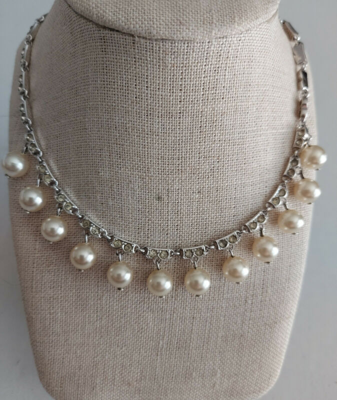 Vintage Sharfman Trifari Faux Diamond Pearl Silvertone Choker Necklace