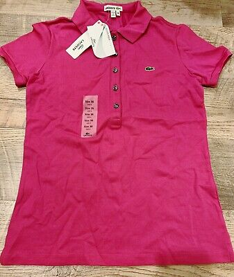 NWT Authentic Lacoste Pink Women's Polo Shirt Size 36 4 Brand New