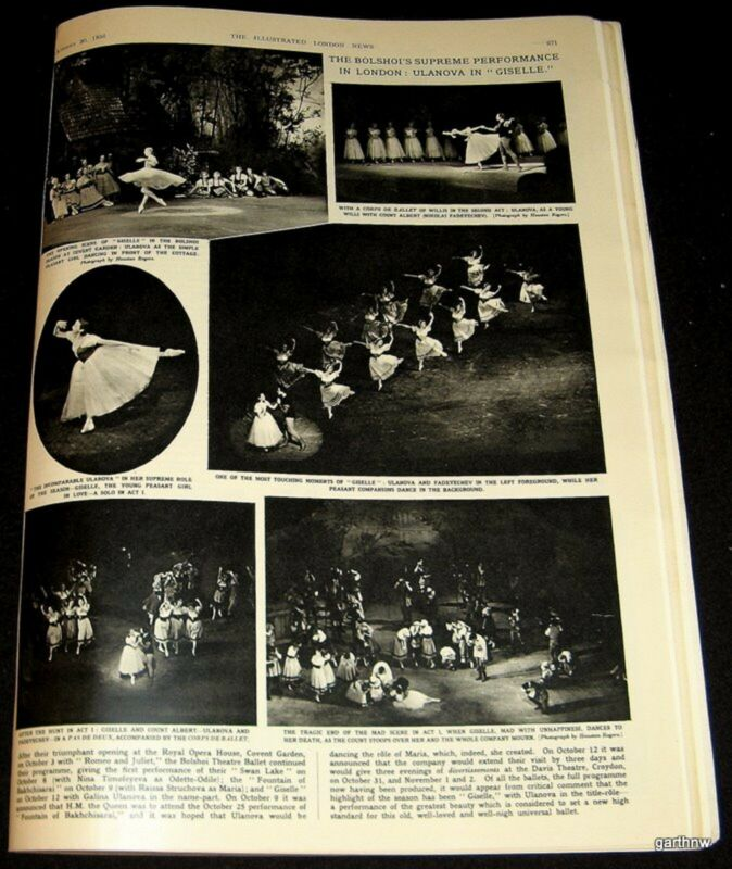 BOLSHOI BALLET 1956 GALINA ULANOVA GISELLE LONDON PRODUCTION PICTORIAL
