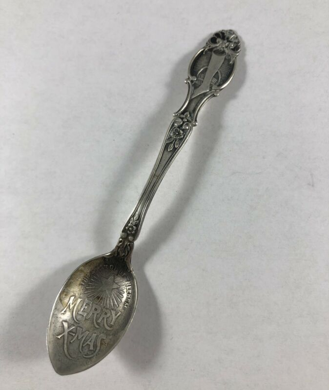 Antique Christmas Star & Stocking Spoon Sterling Silver ESTATE SALE