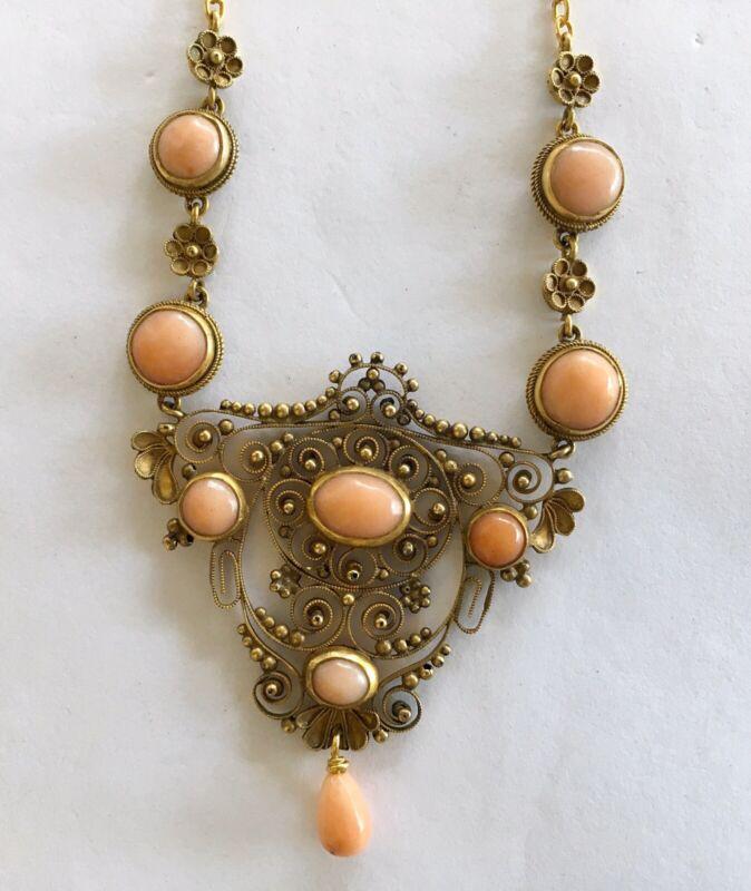Antique Art Nouveau 10k Yellow Gold Drippy Coral Necklace/Festoon