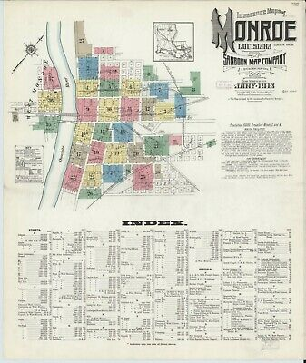 Monroe, Louisiana~Sanborn Map© sheets on a CD~1886 (4) 1898 (18) IN FULL COLOR