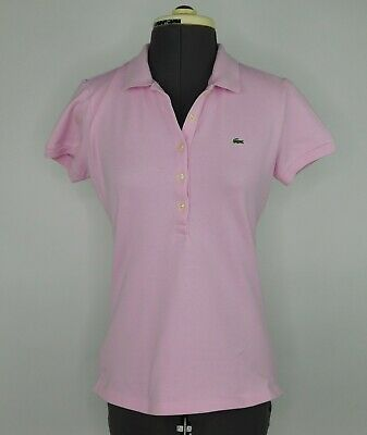 Lacoste Womens shirt polo top Sz M pink cotton short sleeves