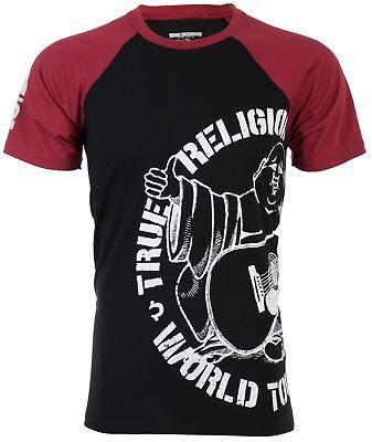 True Religion Mens S/S T-Shirt PART BUDDHA RAGLAN Black Red S-3XL $79 Jeans NWT