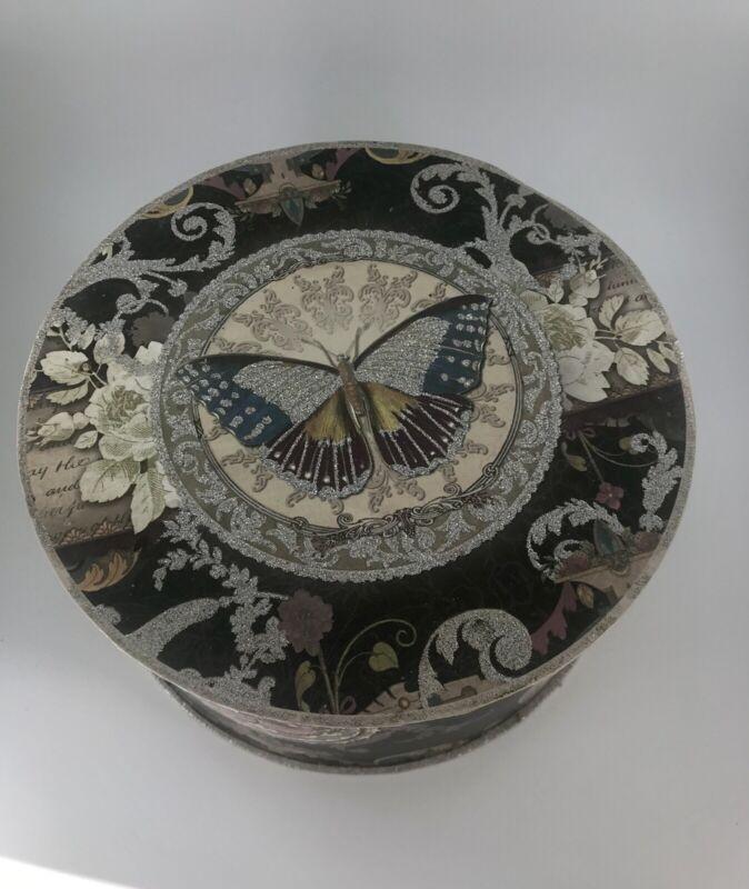 """Punch Studio Grey Butterfly Storage Box Round Cardboard 8.5"""" Diameter"""