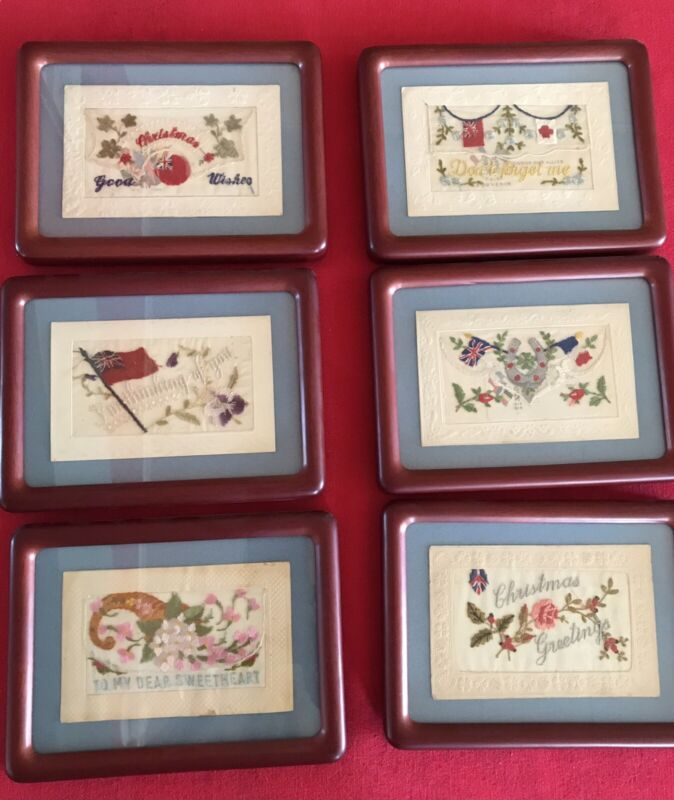 WW I Embroidered Remembrance Greeting Cards - Lot of 6 - Framed - Heartwarming