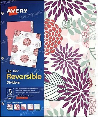 Avery Big Tab Reversible Paper Fashion Dividers 5-tabs 5 Colors Designs Print