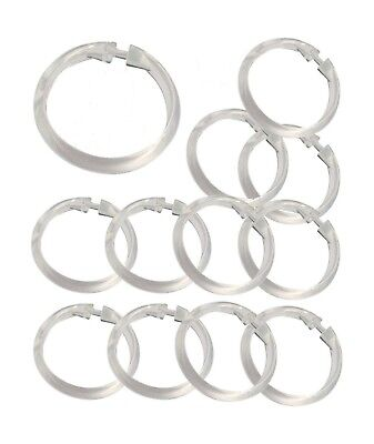 (Set of 12 Easy-to-Use Plastic Snap On Shower Curtain Rings / Hooks ALL COLORS )