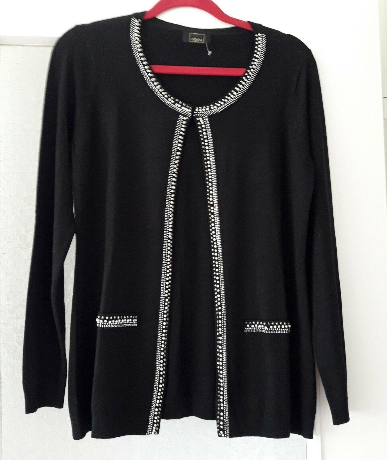 Strickjacke MALOO Gr.38 Damen Elegant, schwarz mit Glitzersteinchen, neuwertig