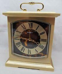 Howard Miller Brass Mantle Style Quartz Alarm Clock 4RE603 Excellent Working Con