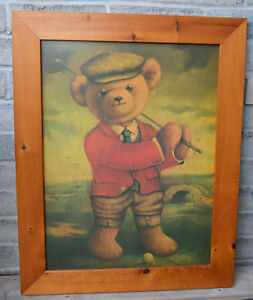 Picture of Golfing Teddy Bear in Wooden Frame.