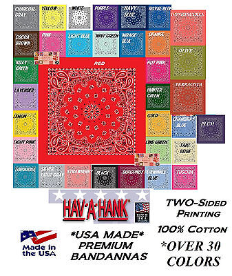 USA MADE HAV-A-HANK 2-Sided PAISLEY BANDANNA BANDANA HEAD Neck Wrap Scarf Scarve