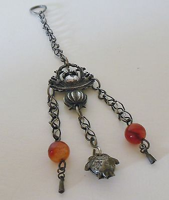 Nice Old Antique Chinese Silver Charm Toggle With Carnelian Beads and Fruit Bell