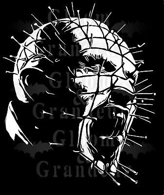 Hellraiser pinhead white vinyl sticker wall decor  car window glass horror punk ()