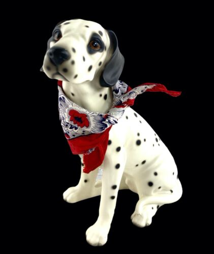 """Dalmation Dog Statue Figurine Sitting 8 1/2"""" White Black Spotted Unmarked"""