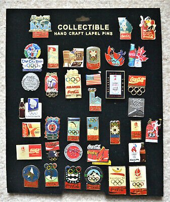36 Coca Cola Olympic Pins ~ Some Very Old ~ Berlin, Grenoble, Lake Placid +++