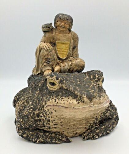 Japanese Meiji Museum Satsuma Okimono of Gama Senin on a Toad