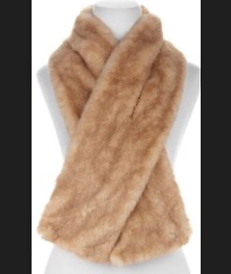 G By Giuliana Rancic Faux Fur Mink  Soft  Scarf With Dust Storage Bag  Golden