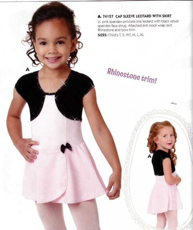 NWT CapSleeve skirted leotard black pink rhinestone accent girls sz extra small